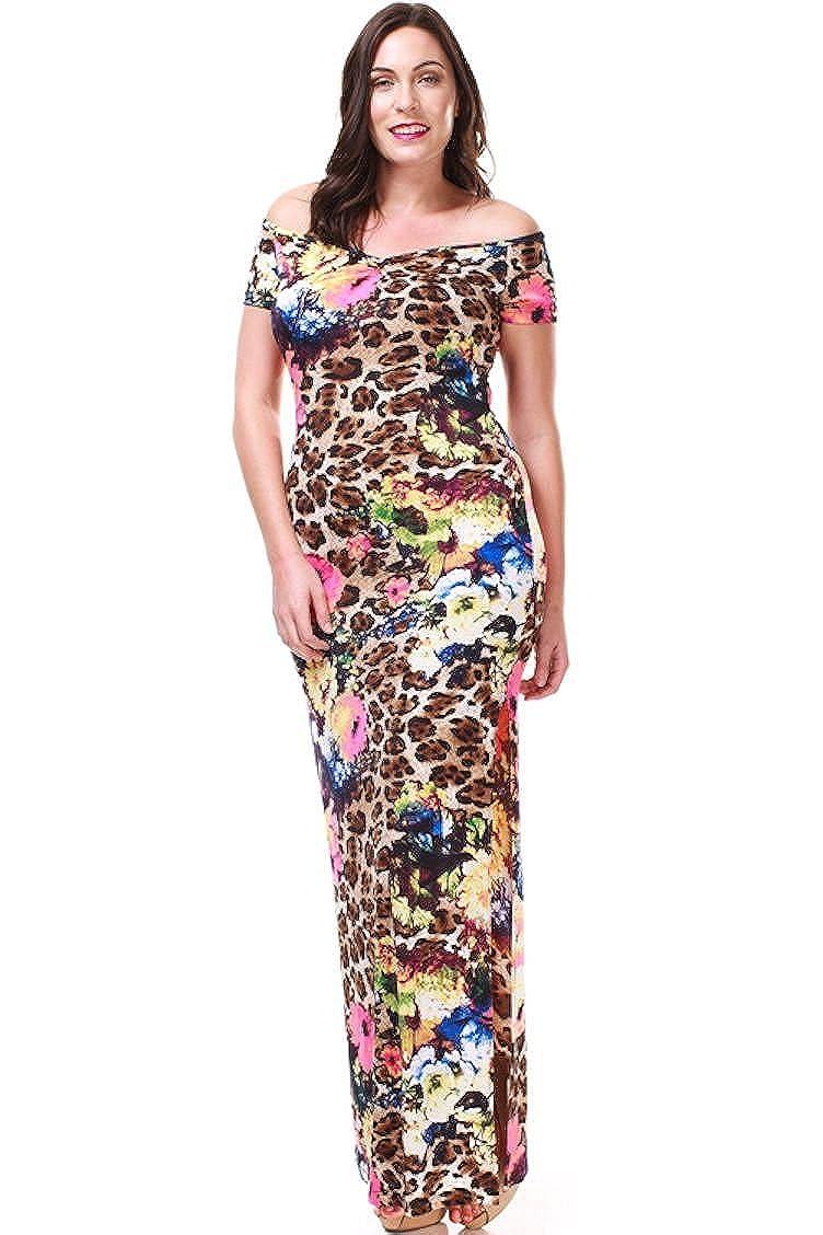 5669d16ff71 Nyteez Women s Tropical Plus Size Off Shoulder Bodycon Maxi Dress (1X) at  Amazon Women s Clothing store