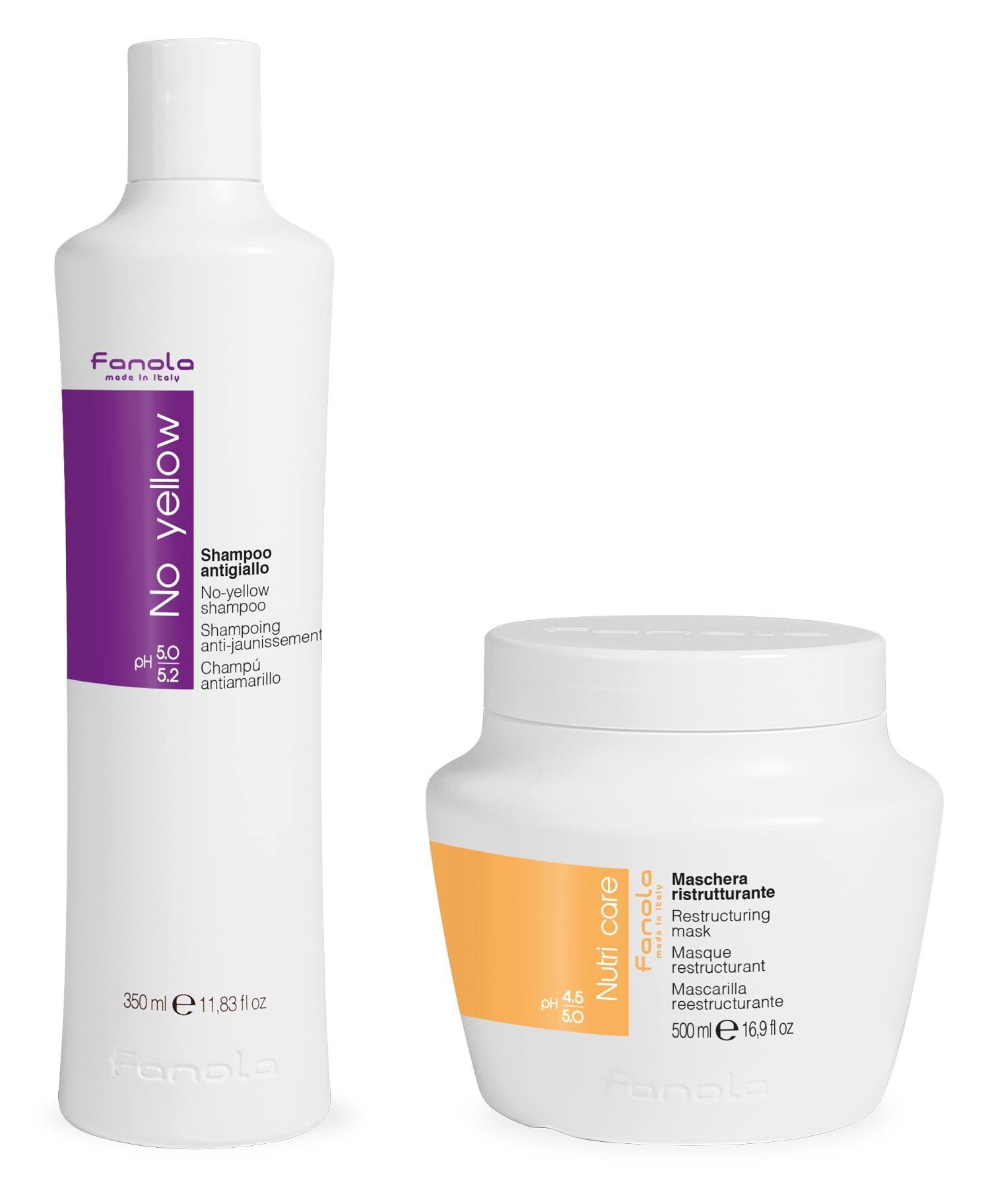Fanola No Yellow Shampoo 350 ml & Fanola Nutri Care Restructuring Mask 500 ml