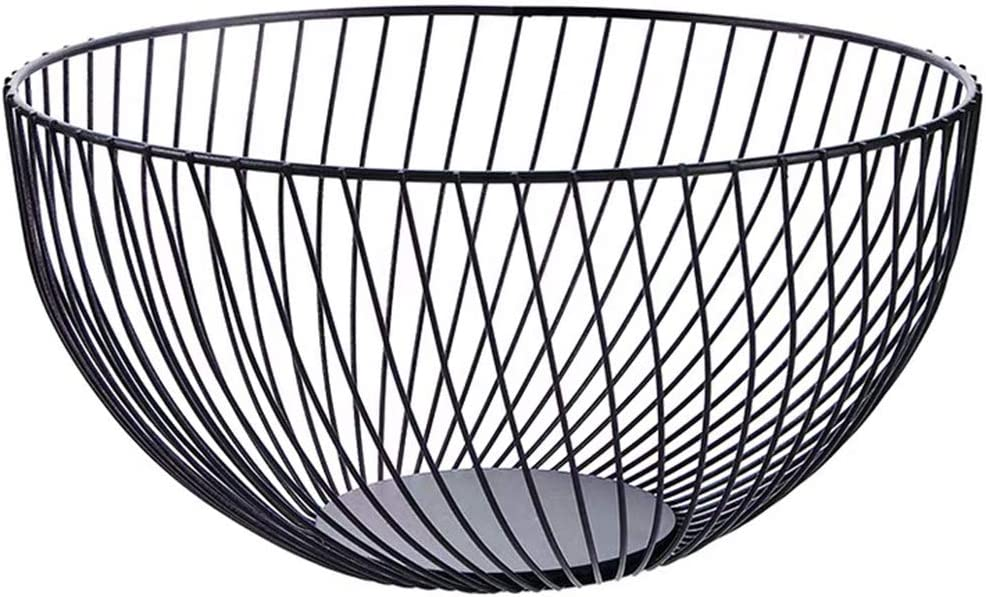 Metal Wire Countertop Fruit Storage Basket Stand for Kitchen, Pantry, Office, Living Room, 10.2 In (Round B)