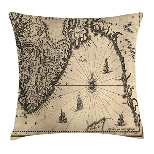 World Map Throw Pillow Cushion Cover by Ambesonne, Ancient Map of Southern Part of the Norway Vikings World Old Scandinavian Land, Decorative Square Accent Pillow Case, 16 X 16 Inches, Cream (Southern Textiles Square Pillow)