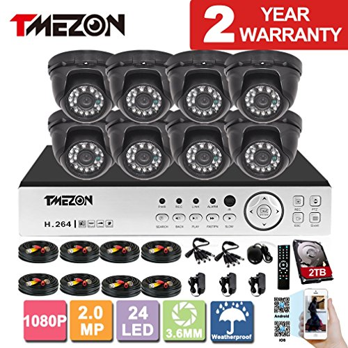 [Better Than 1080N]TMEZON HD 1080P 16 Channel AHD DVR Video Security System with 8 x 2.0MP 2000TVL AHD Cameras 65ft Night Vision 2TB HDD