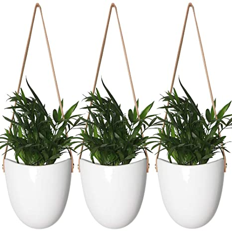Yxmyh Modern White Ceramic Hanging Planter Succulent Air Plant Flower Pot Wall Decor, Set Of 3 by Yxmyh