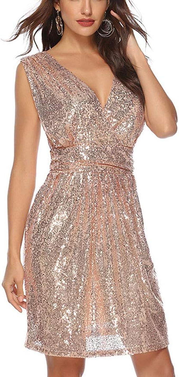 Kleider Women Fashion Elegant Frauen Pailletten Kleid Mittellang