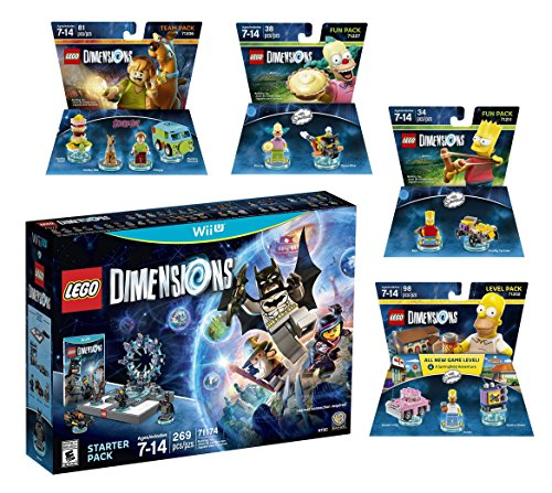 Lego Dimensions Starter Pack + Scooby Doo + Homer + Bart Simpson + Krusty Fun Pack for Nintendo Wii U Console by WB Lego