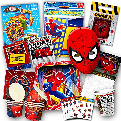 Marvel Spiderman Party Supplies Ultimate Set -- Party Favors, Birthday Party Decorations, Plates, Cups, Napkins, Stickers, Invitations and More!
