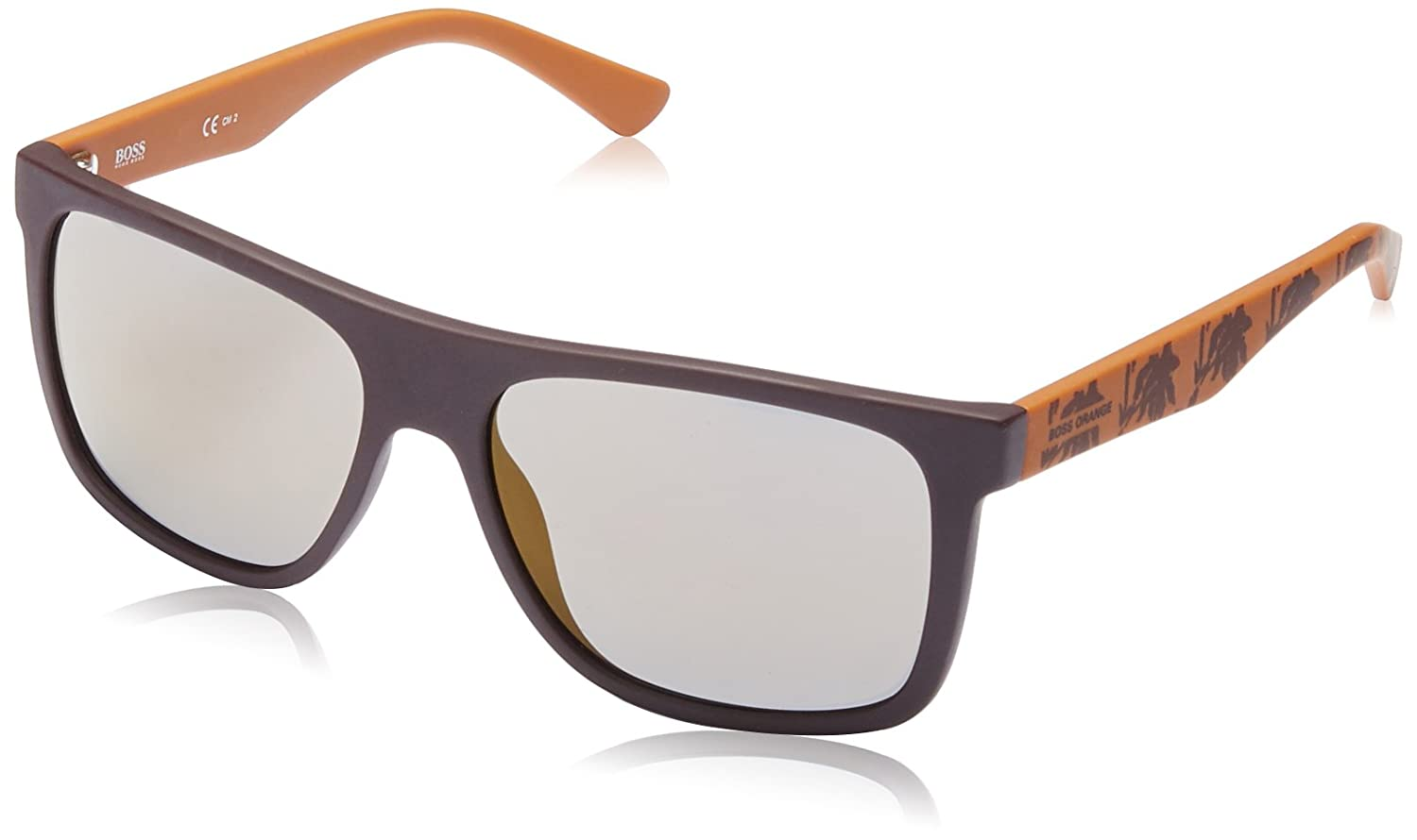 3ad5b9ee44e Amazon.com  Boss Orange BO 0253 S Q83CT (Matt Brown - Orange print with  Black lenses)  Clothing