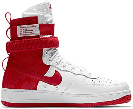NIKE Men's SF AIR Force 1 Shoe WhiteUniversity RED (10.5 D(M) US)