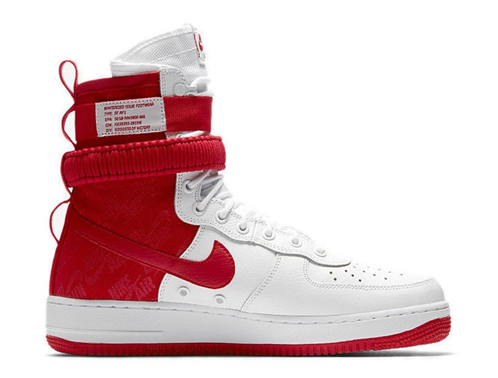 NIKE Men's SF AIR Force 1 Shoe White/University RED (10.5 D(M) US)