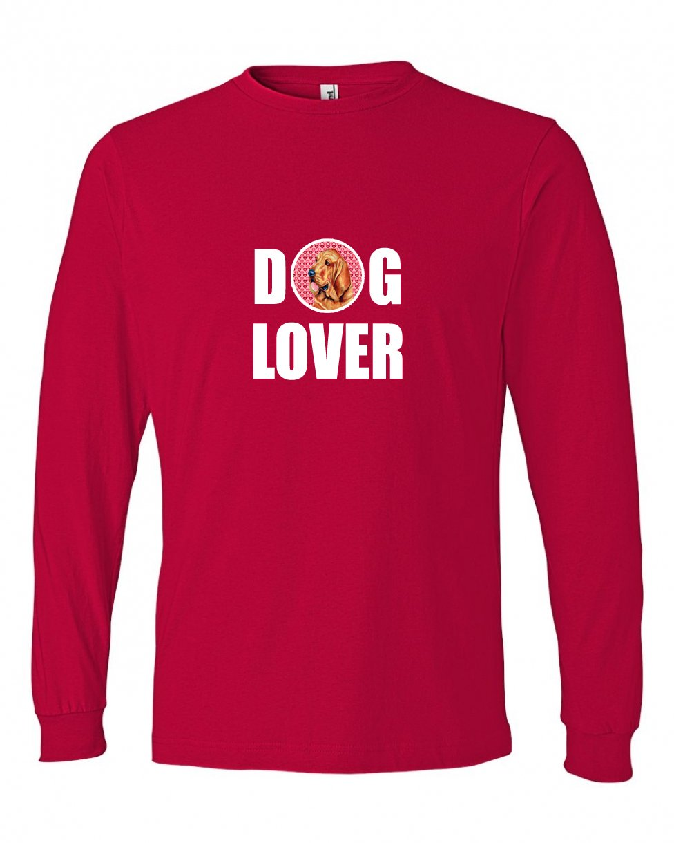 Multicolor Carolines Treasures LH9151LS-REDU-Parent Bloodhound Love and Hearts Long Sleeve Red Unisex Tshirt