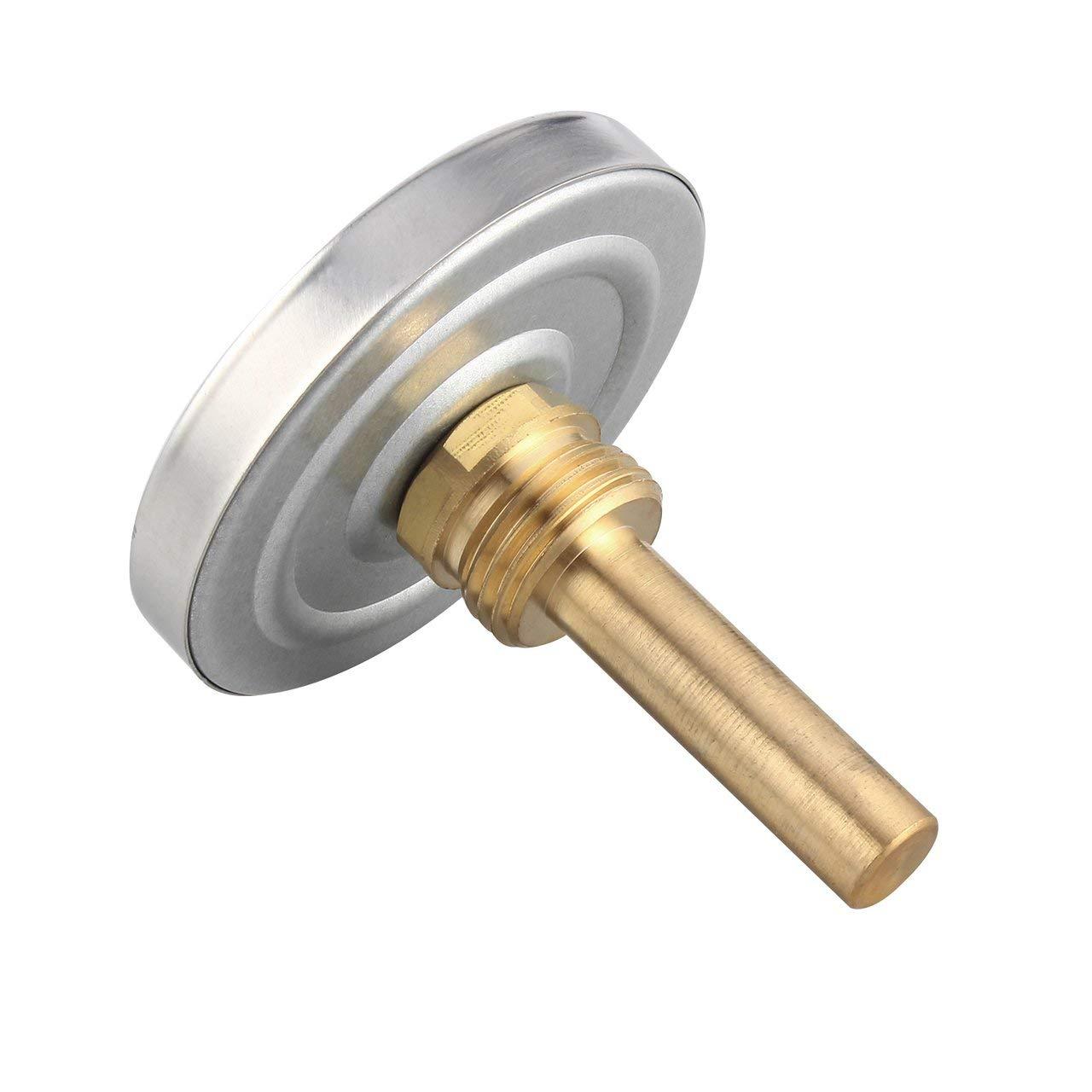 Jasnyfall 63mm Messgerät Thermometer Flüssigkeitstemperaturanzeige 0-120 ° C Horizontale Montage Silber