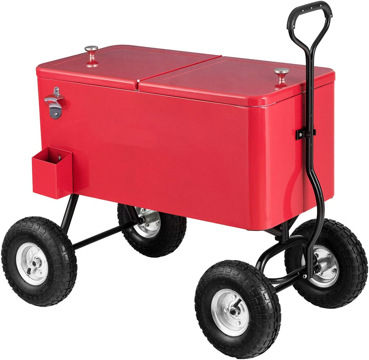 Giantex 80QT Wagon Cooler Rolling Cooler Ice, with Long Handle and 10