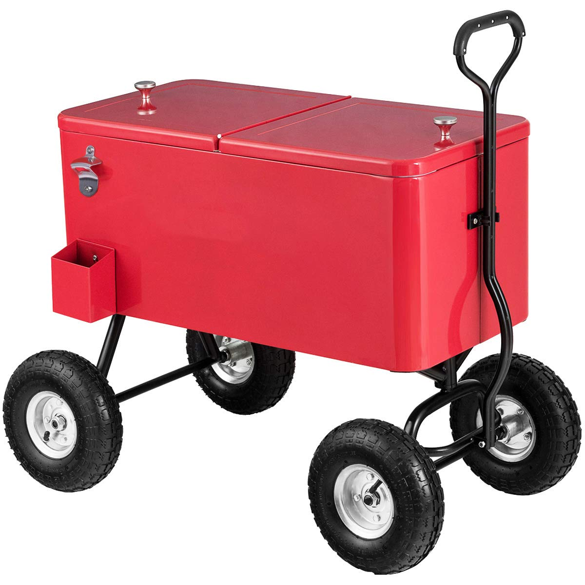 Giantex 80QT Wagon Cooler Rolling Cooler Ice, with Long Handle and 10'' All Terrain Wheels, Portable Rolling Bar Party Cold Drink Beverage Chest Patio Outdoor Cooling Cart, Red by Giantex (Image #1)