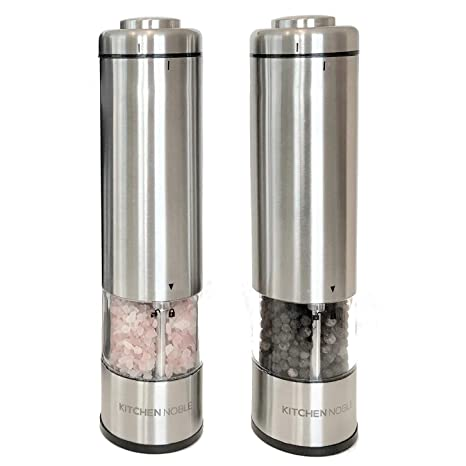 Amazon Com Electric Salt And Pepper Grinder Set By Kitchen Noble