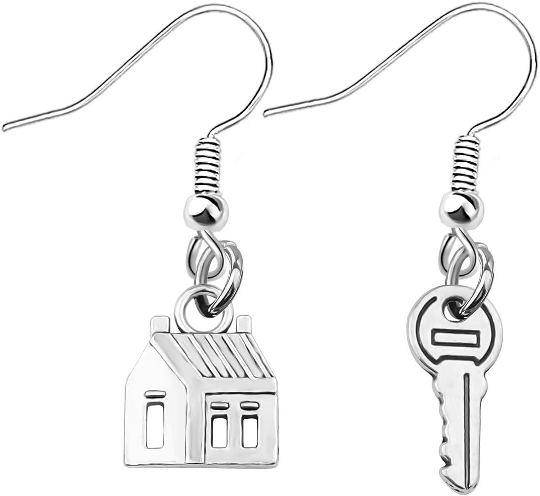 bobauna Realtor House Key Asymmetrical Dangle Drop Earrings Real Estate Agents Jewelry Gift For Home Seller Realtor