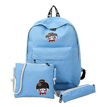 Bolso, Manadlian Bolso de lona Set de tres piezas Bolsa de estudiante de escuela Mochila de viaje ((H)41cm*(L)27cm*(W)11cm, Azul): Amazon.es: Hogar