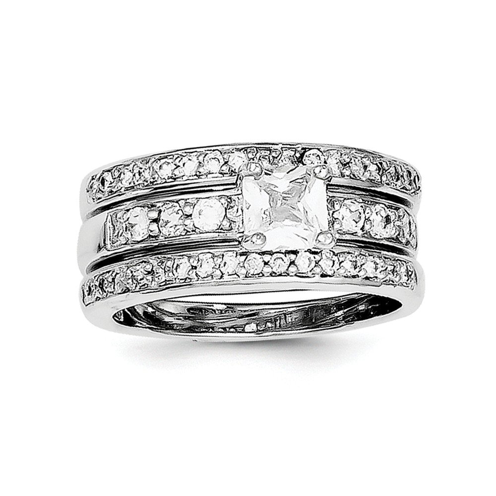 Top 10 Jewelry Gift Sterling Silver CZ 3 Piece Wedding Set Ring