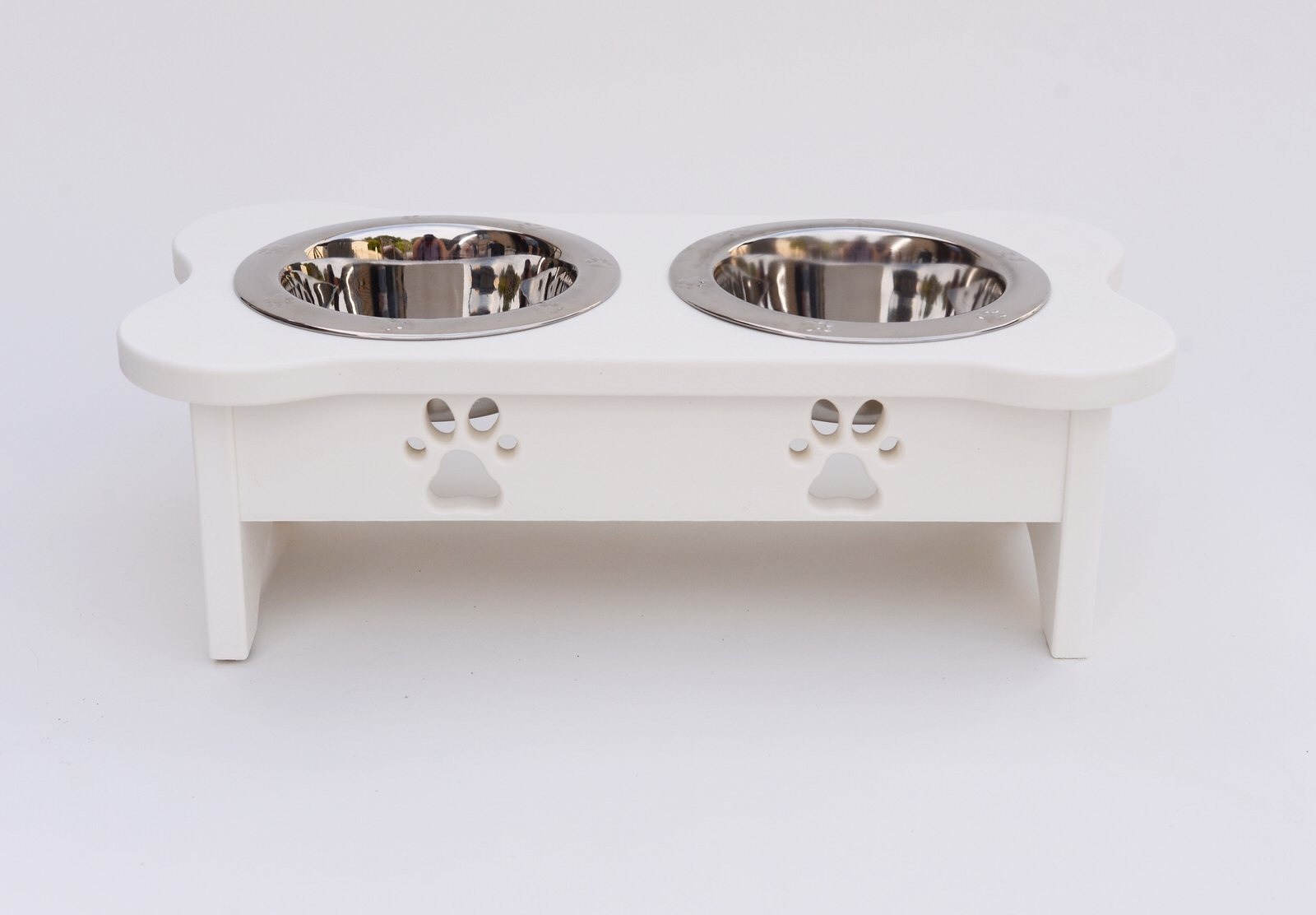Indipets High with Carved Paws with Two Wide Rim Bowls, 2 quart/8.75'', White