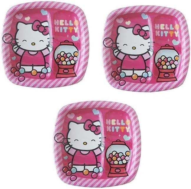 24 Count Hello Kitty 2-Section Divided Birthday Party 9 Lunch Paper Plates