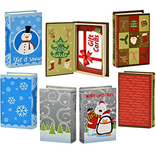 9 Christmas Gift Card Holder Elegant Book Box Holiday Designs with Magnetic Closure