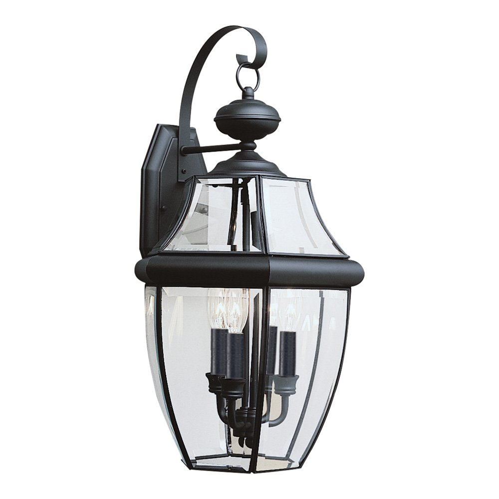 Sea Gull Lighting 8040-12 Lancaster Three-Light Outdoor Wall Lantern with Clear Curved Beveled Glass Panels, Black Finish