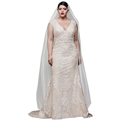 David\'s Bridal Cap Sleeve Plunging V-Neck Plus Size Wedding ...