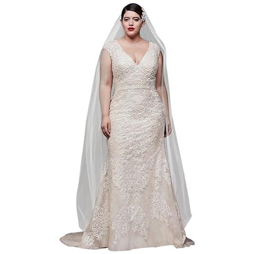 David\'s Bridal Cap Sleeve Plunging V-Neck Plus Size Wedding Dress ...