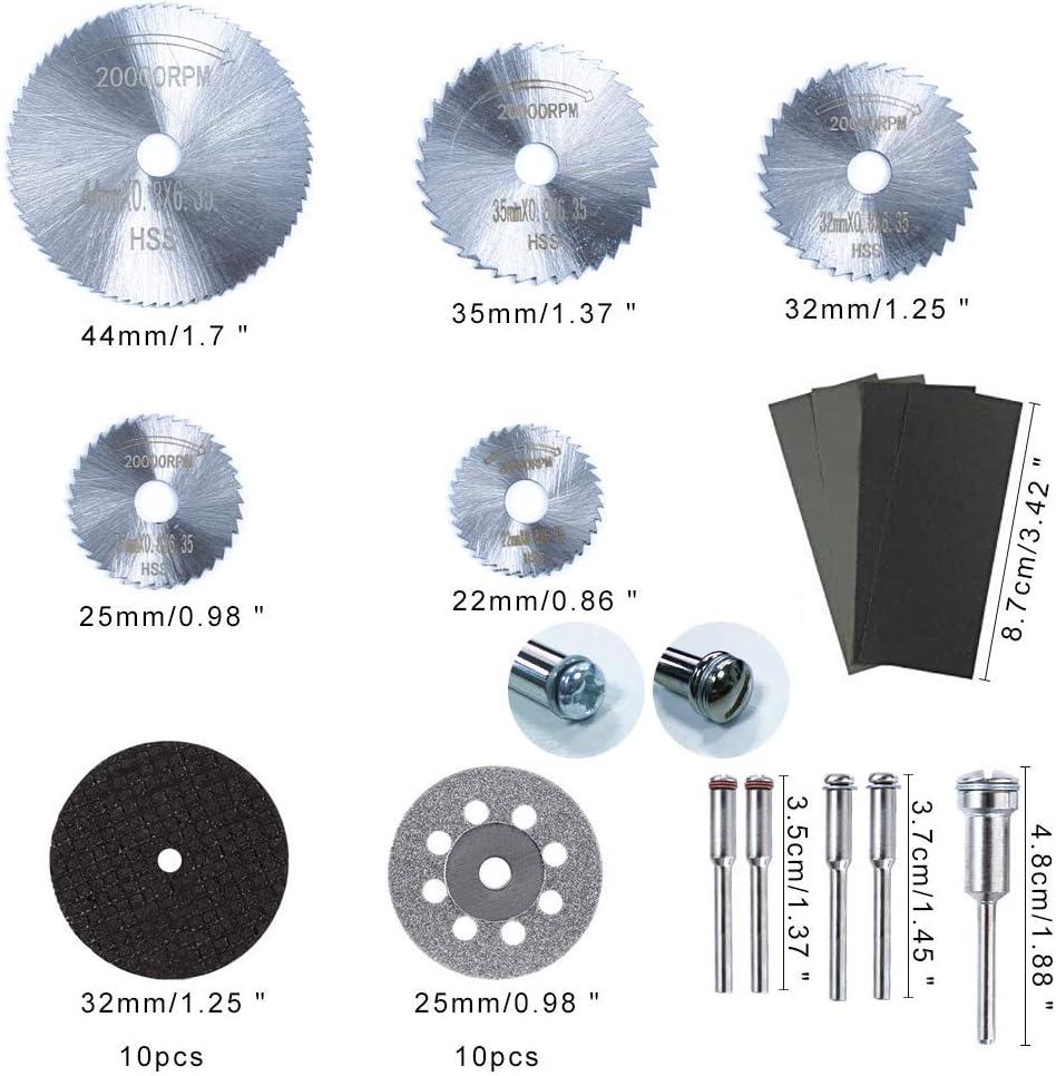 KINDPMA 30pcs Disco de Corte Diamante Dremel Mini Hojas de Sierra Circular HSS Disco Corte Resina Madera 22//25//32//35//44mm Piedra y Vidrio con 5pcs Mandril 3mm y 4pcs Papel Abrasivo
