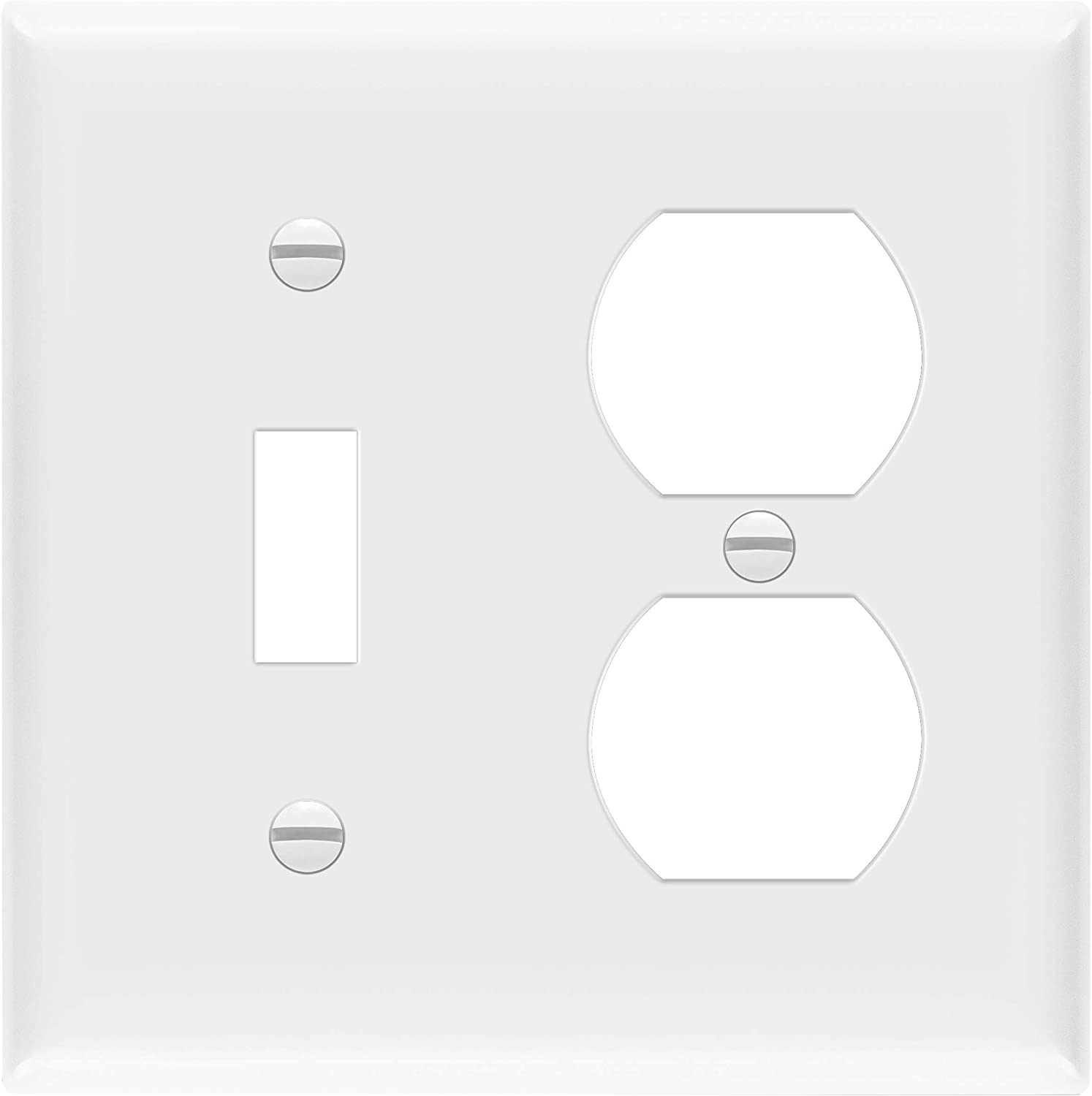 """ENERLITES Combination Toggle Light Switch/Duplex Receptacle Outlet Wall Plate, Size 2-Gang 4.50"""" x 4.57"""",Polycarbonate Thermoplastic, 881121-W, White, Standard"""