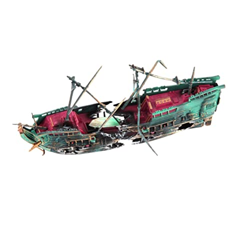 Domybest Ornamento del acuario, Barco de Pesca del Ornamento del Acuario Peces tanque accesorios