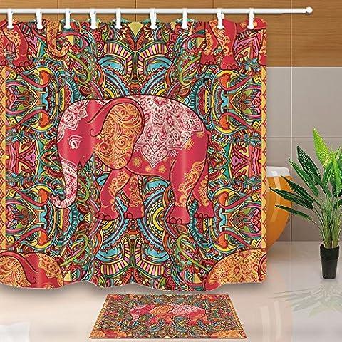 ChuaMi Polyester Fabric 69 x 70 Inches Shower Curtain Set with Hooks Mildew Resistant Waterproof Bath Decoration Curtain Suit with 40 x 60cm Non-slip Floor Mat Bath Rug (Bohemia Elephant (Elephant Floor Rug)