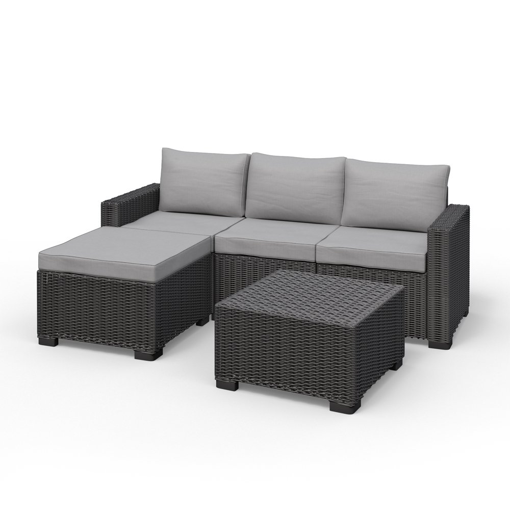 Amazon.de: Allibert California Eck Lounge Set Polyrattan Gartenmöbel ...