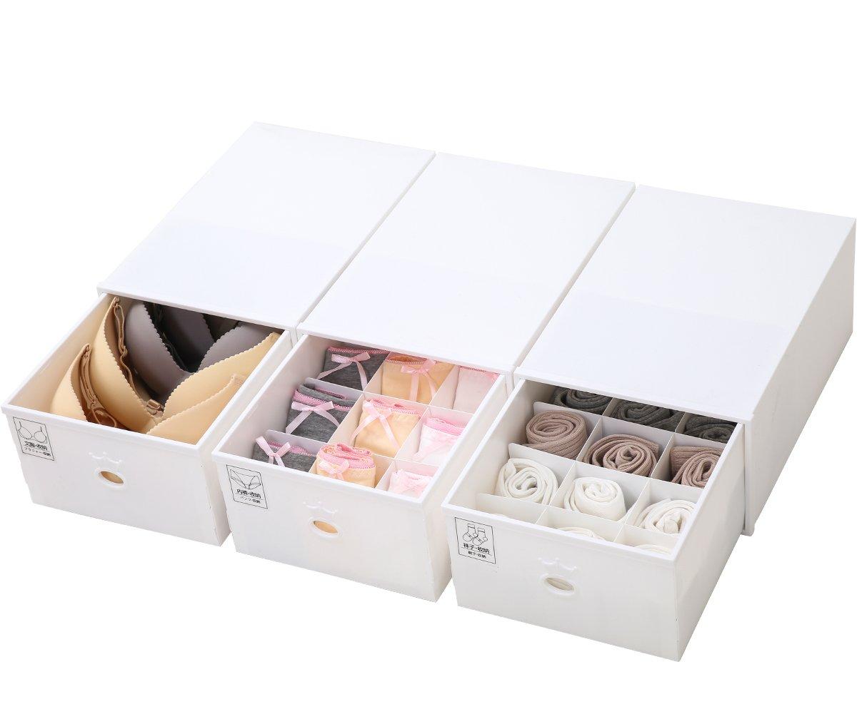 ironland 3 Pack Closet Underwear Plastic Storage Box Drawer Divider Organizer Brown