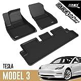 3D MAXpider All-Weather Floor Mats for Tesla Model 3 2020-2021 Custom Fit Car Floor Liners, Kagu Series (1st & 2nd Row, Black
