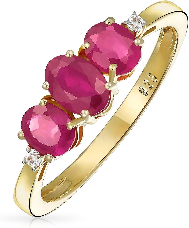 3 1.9Ct Natural Piedra Circón Rosa Rojo Oval Creado Ruby Anillo Multiple Mujer Oro Amarillo 14K Chapado En Plata 925