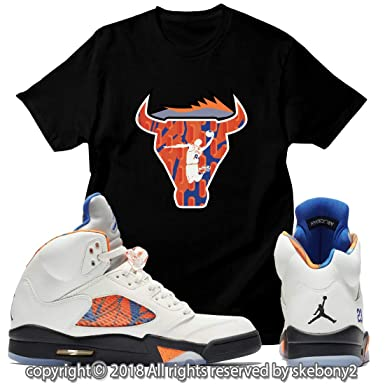 62e9f86b18b0 Custom T Shirt Matching Air Jordan 5 Orange Peel JD 5-1-11-2 at Amazon  Men s Clothing store