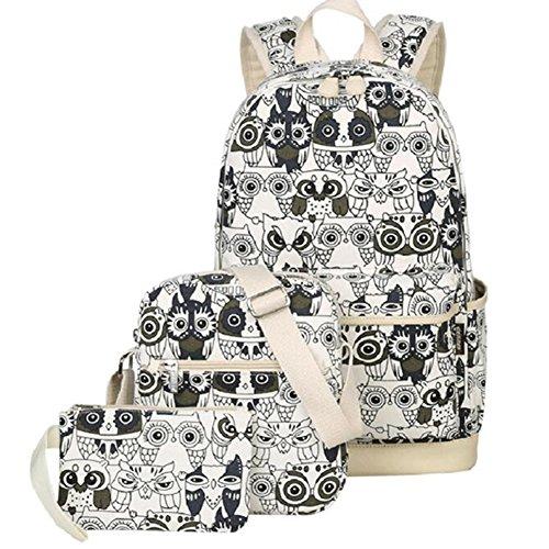 Mochila Escolar Mujer Lona vintage Backpack Canvas Casual + Bolsa de hombro / Messenger Bag + Monedero grande 3pcs (Negro) B