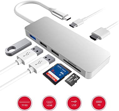 7 in1 Type C Hub HD 4K HDMI TF Card Reader USB-C USB3.0 Adapter For MacBook Pro