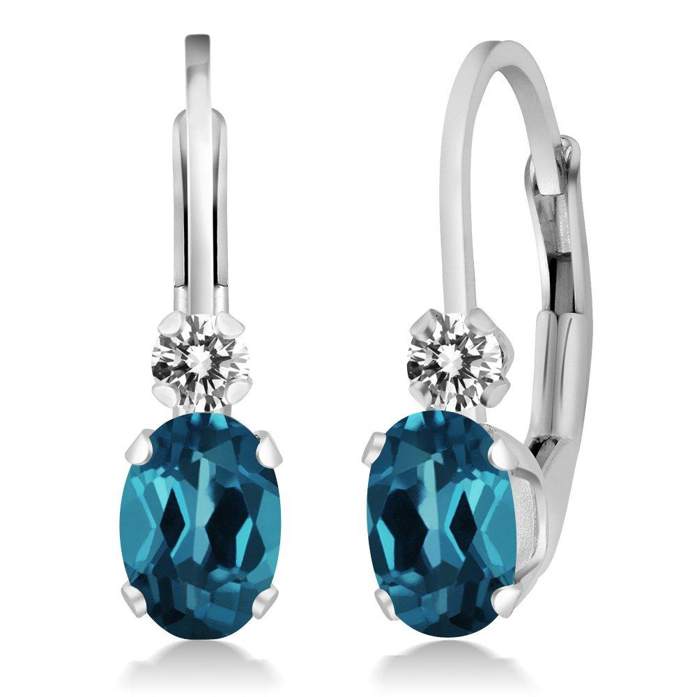 1.07 Ct Oval London Blue Topaz White Diamond 925 Sterling Silver Earrings