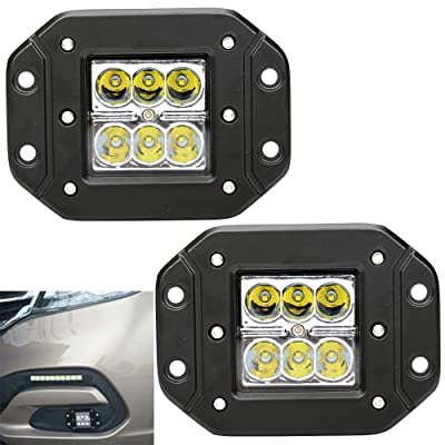 Athiry 2Pcs 18W 4.5 inch Led Work Light Flush Mount Pods Cube Reverse Backup Lamp 3X3 Auxiliary Driving Fog Lights Bumper Grille Offroad Lights For Jeep, 4 x 4, Sand rails, Cars, Truck(White lamp): Automotive