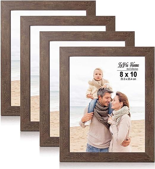 Nuevo cartel de fotos de madera oscura Marcos de fotos con montajes de soporte de Colgar Negro O Blanco