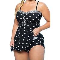 POTO Womens Bikini Sets Plus Size Two Piece Dot Tankini Skirted Swimsuit with Shorts Swimwear Swim Dress Costume Bathing Suit