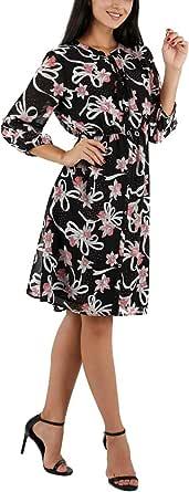 Avtosrno Women's 3/4 Sleeve Casual Pleated Chiffon midi Dresses