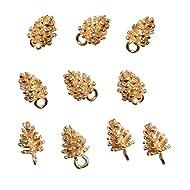 Phenovo 10 Pieces Fashion Woman Girls Charms Pine Cone Pendants Hair Ornaments for Hair Clamp Hairpin Hair Slide DIY