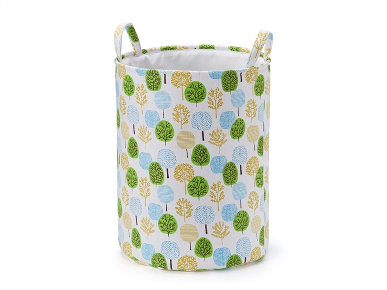 Gelaiken Lightweight Tree Pattern Storage Box Laundry Basket Cotton and Linen Storage Box (Green)