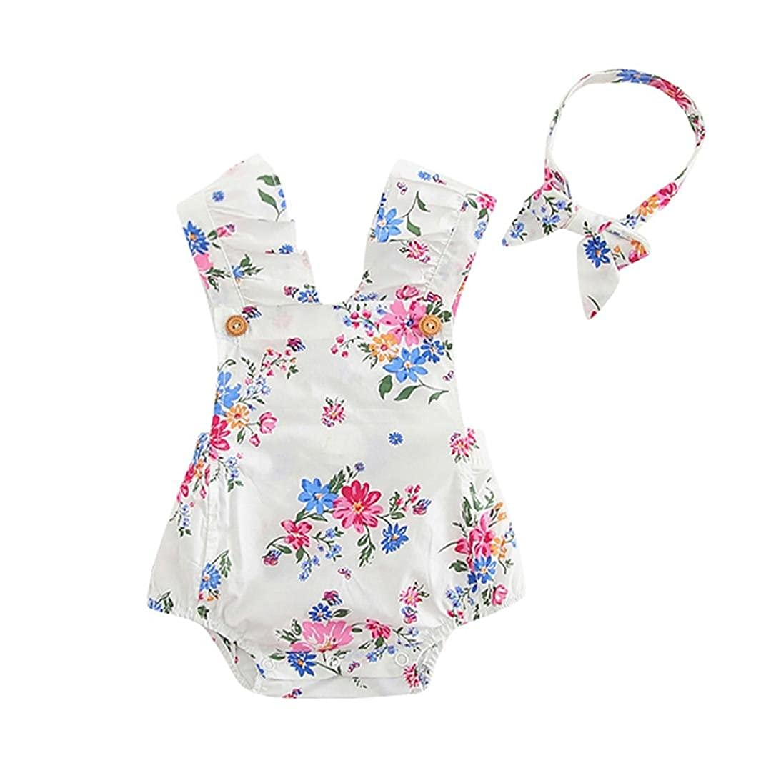 Vincent&July Newborn Baby Girls Summer Floral Print Backless Romper +Headband Outfits