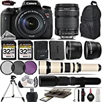 Canon EOS Rebel T6s DSLR Wi-Fi Camera + Canon 18-135mm STM Lens + 650-1300mm Zoom Lens + 500mm Telephoto Lens + 0.43X Wide Angle Lens + 2.2x Telephoto Lens + 64GB Storage - International Version