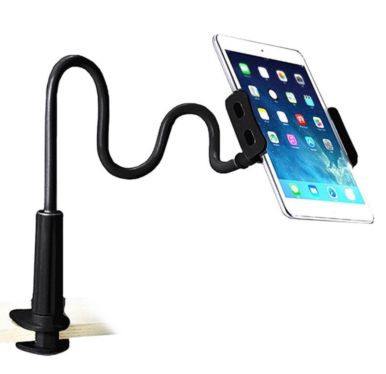 Gooseneck Phone and Tablet Stand, Tablet Mount Holder for iPad iPhone Series/Nintendo Switch/Samsung Galaxy Tabs/Amazon Kindle Fire HD and More (Black)