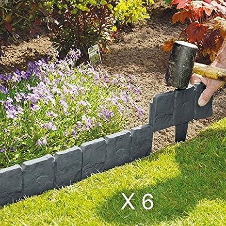 EliteZotec® 60 Piezas de plástico Cobbled Gris Oscuro Efecto Piedra para Jardín Borde Planta Césped: Amazon.es: Jardín