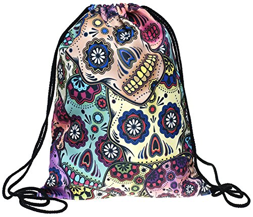 Ababalaya 3D Print Drawstring Backpack Rucksack Shoulder Bags Gym Bag, Colorful Skull Bag Rucksack
