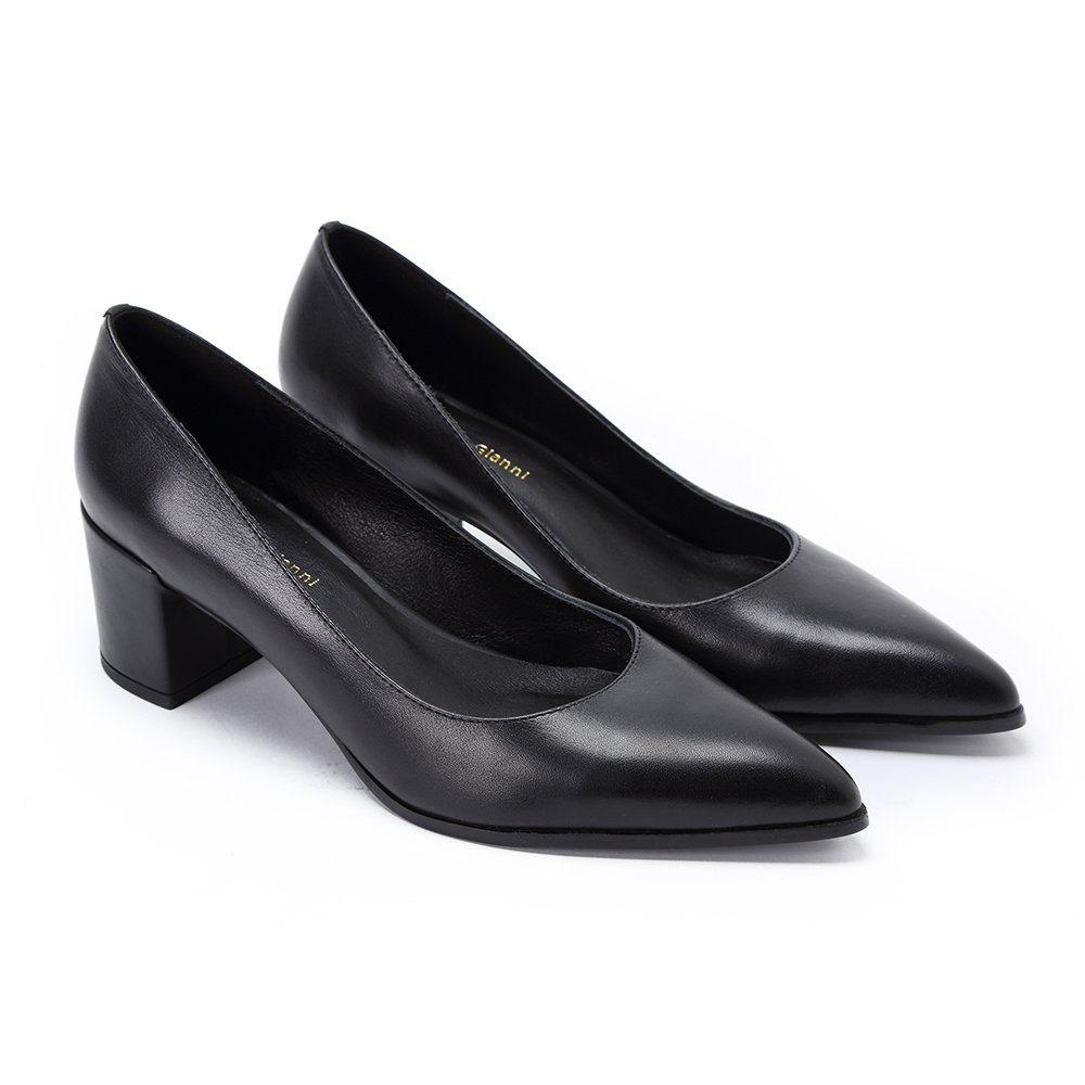 Darco & Gianni Womens Mid Block Heel Black Pointed Toe Pumps Shoes Ladies Slip On Office Work Evening Leather Dress Shoes B07BJ5JVP8 11 B(M) US|Without Buckle
